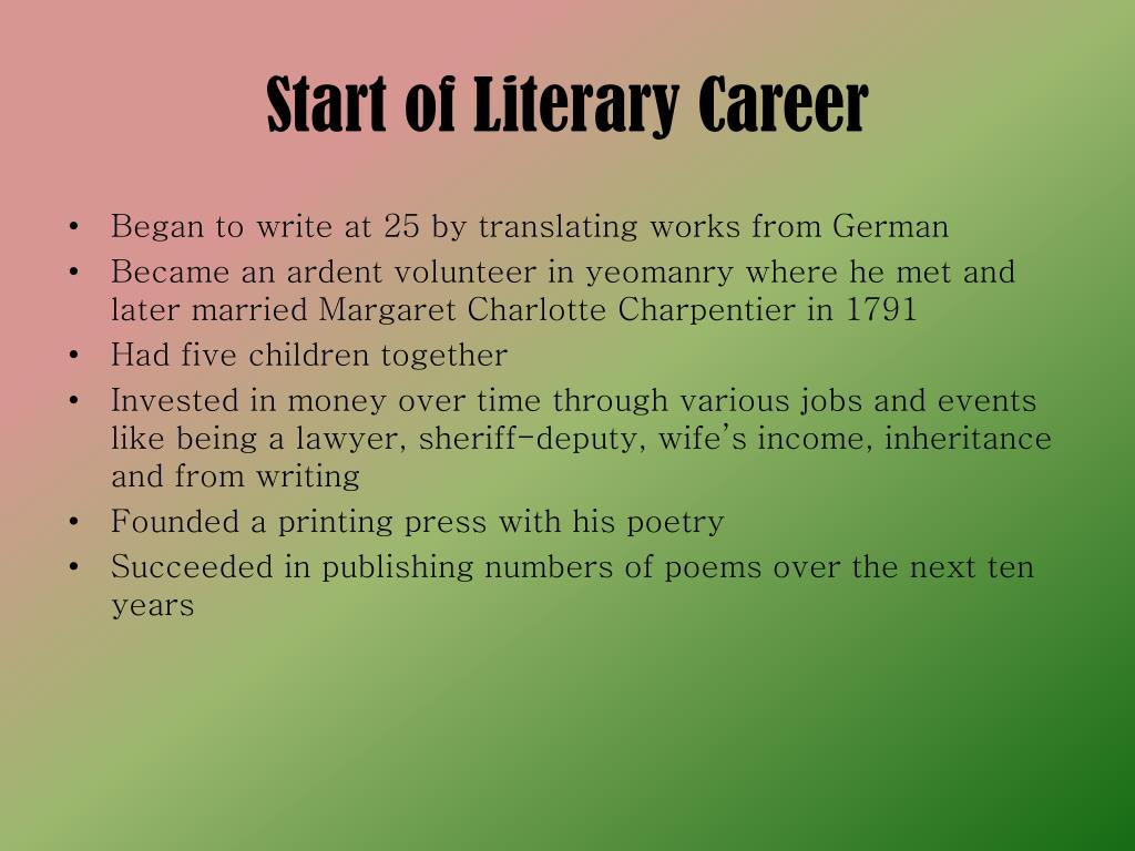 Start of Literary Career