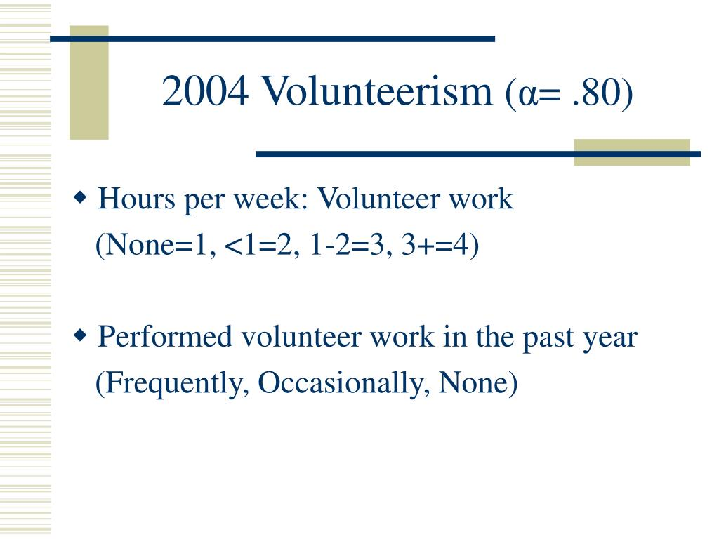2004 Volunteerism
