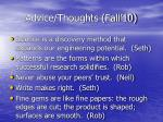 advice thoughts fall 1026