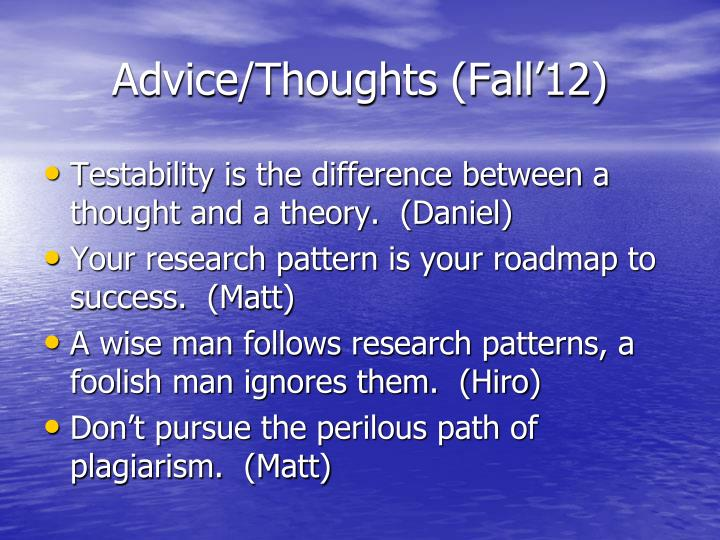 Advice thoughts fall 123