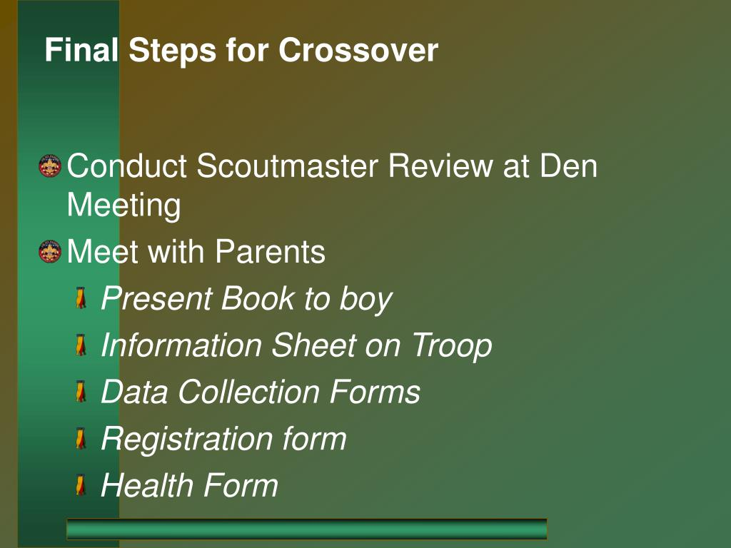 Final Steps for Crossover