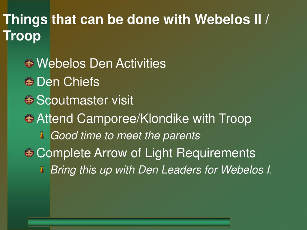 Things that can be done with Webelos II / Troop