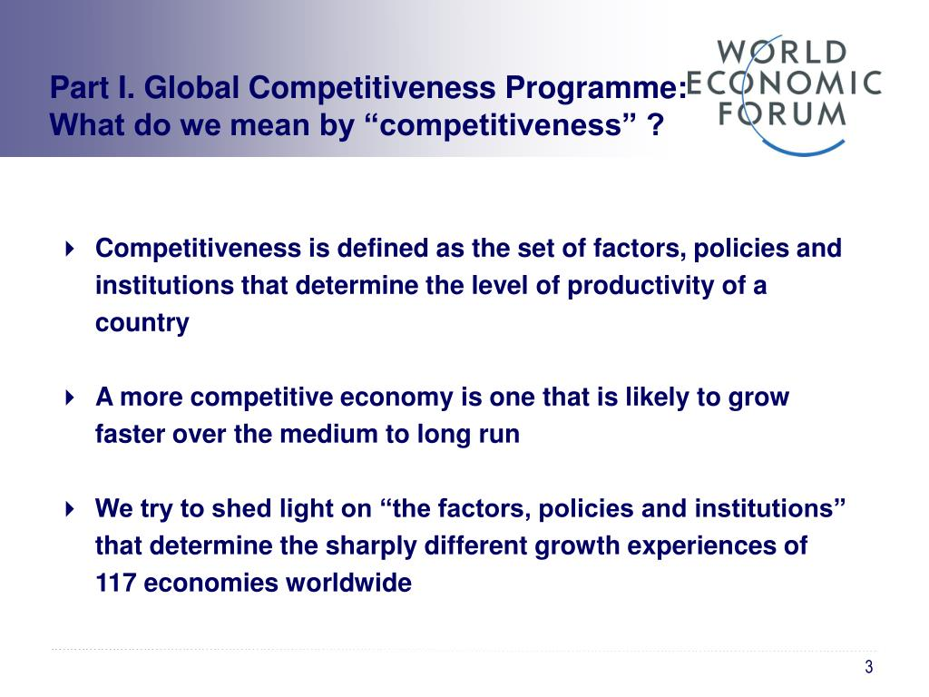 Part I. Global Competitiveness Programme: