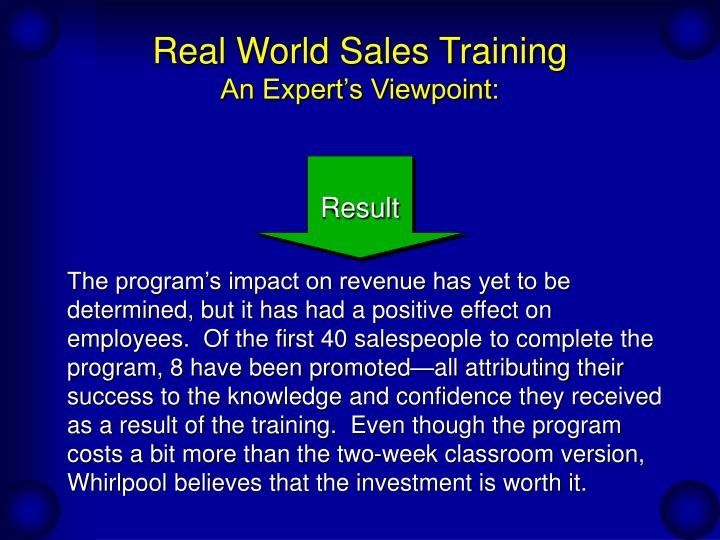 Real world sales training an expert s viewpoint3