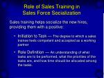 role of sales training in sales force socialization