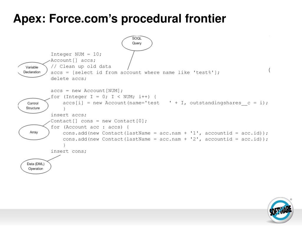 Apex: Force.com's procedural frontier