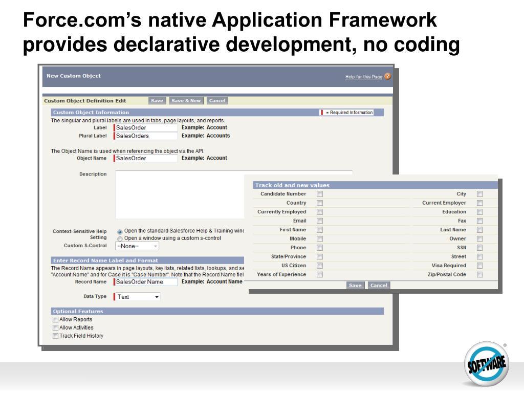 Force.com's native Application Framework provides declarative development, no coding