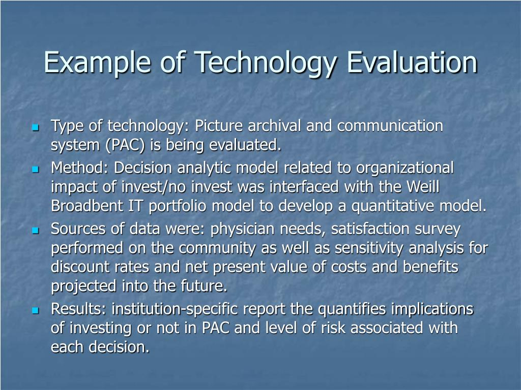 Example of Technology Evaluation