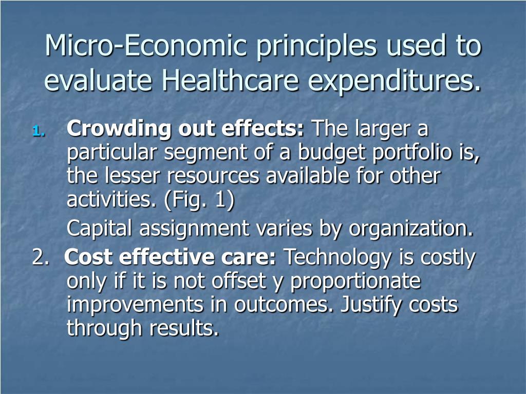 Micro-Economic principles used to evaluate Healthcare expenditures.
