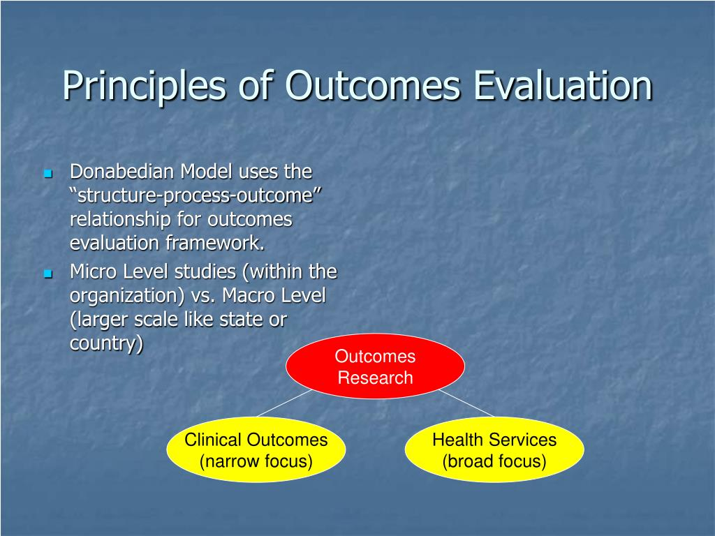Principles of Outcomes Evaluation