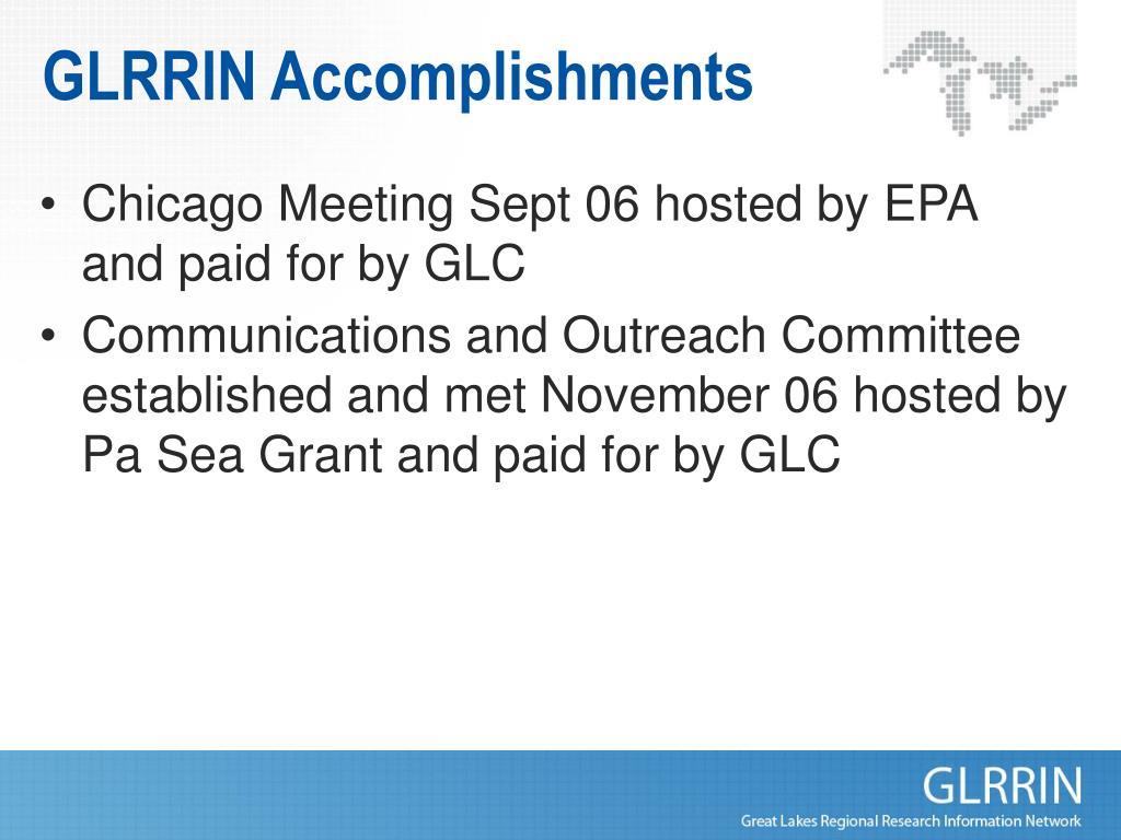 GLRRIN Accomplishments