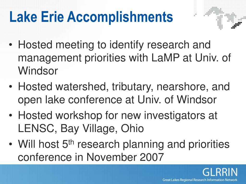 Lake Erie Accomplishments