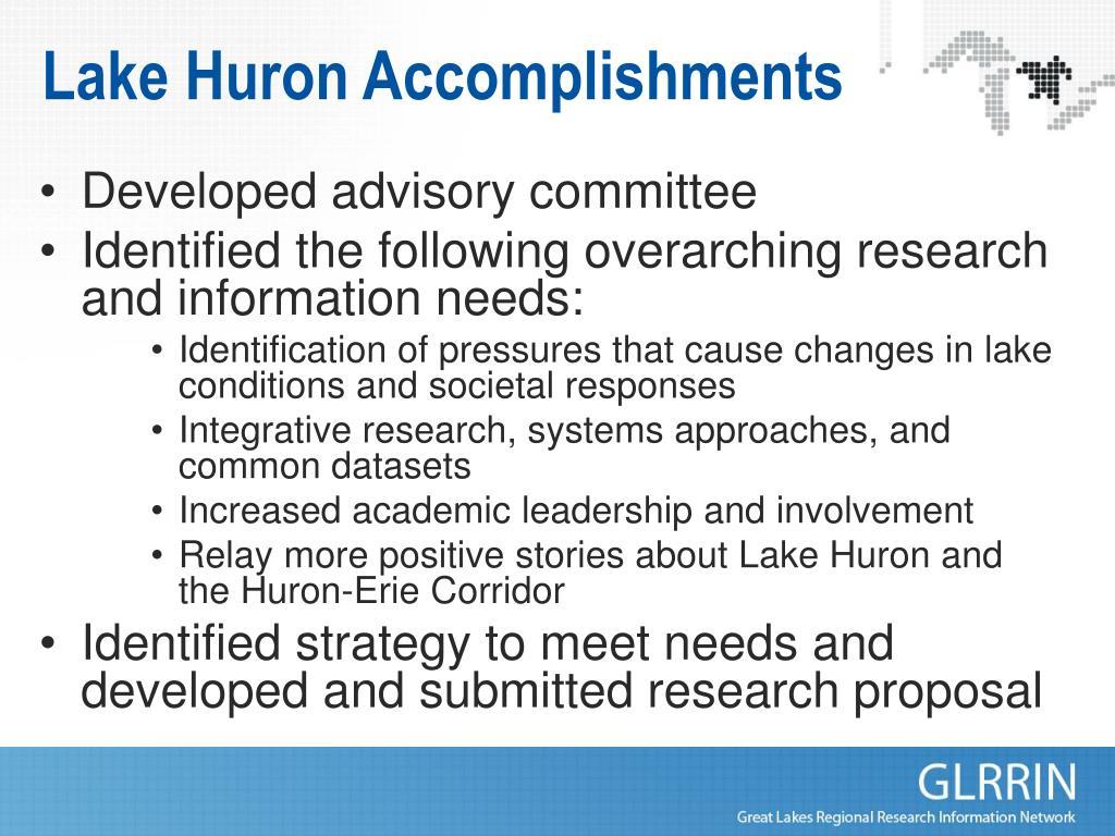 Lake Huron Accomplishments