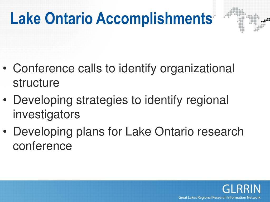 Lake Ontario Accomplishments