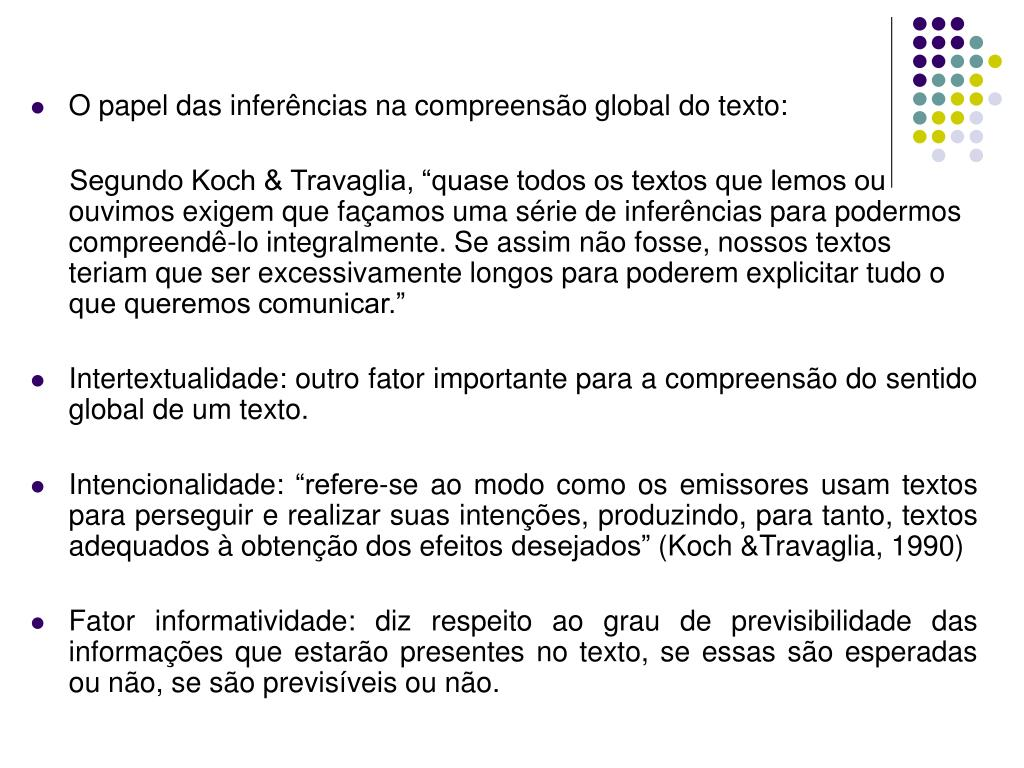 O papel das inferências na compreensão global do texto: