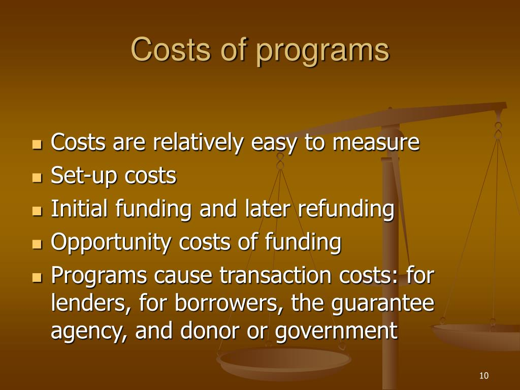 Costs of programs