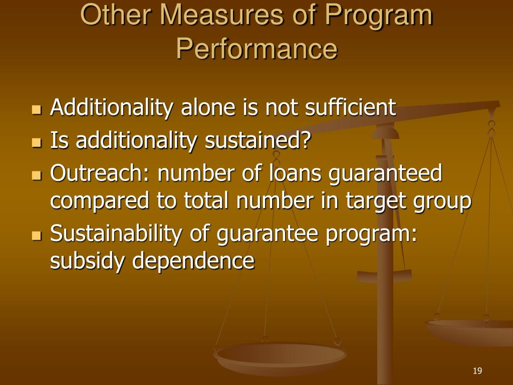 Other Measures of Program Performance