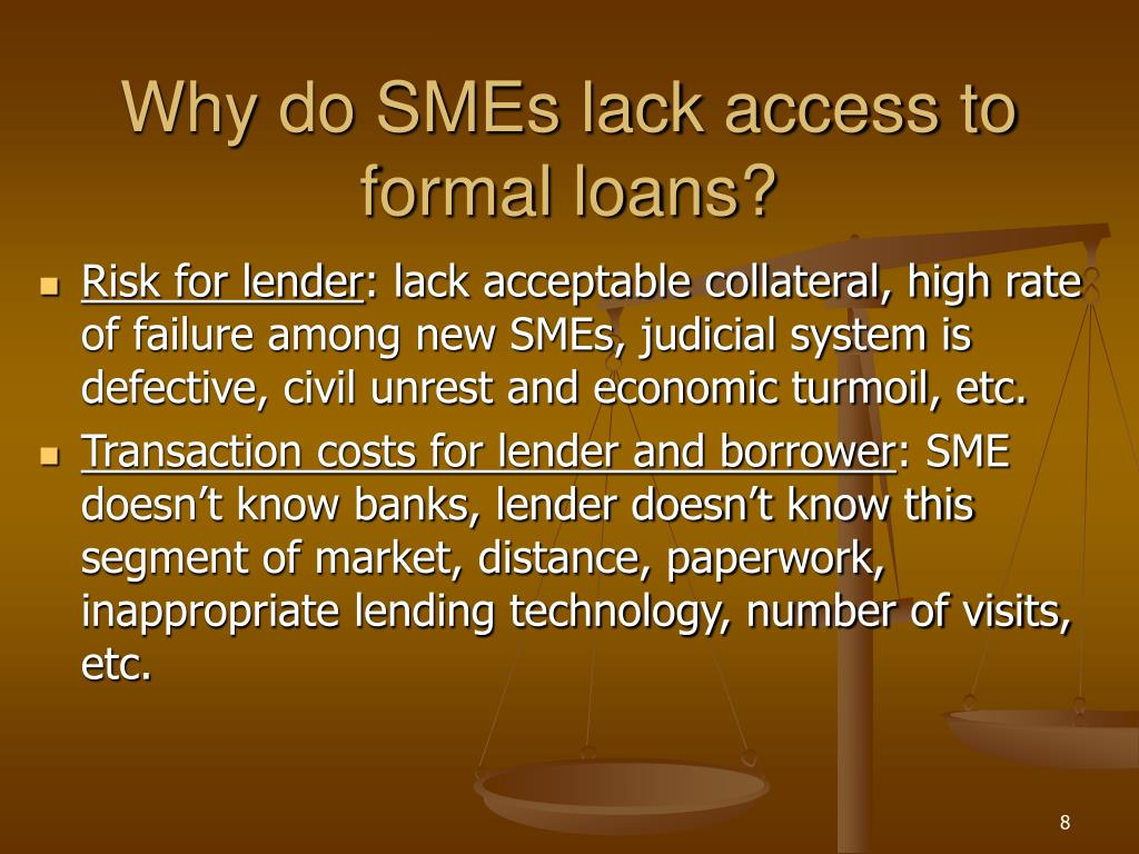 Why do SMEs lack access to formal loans?