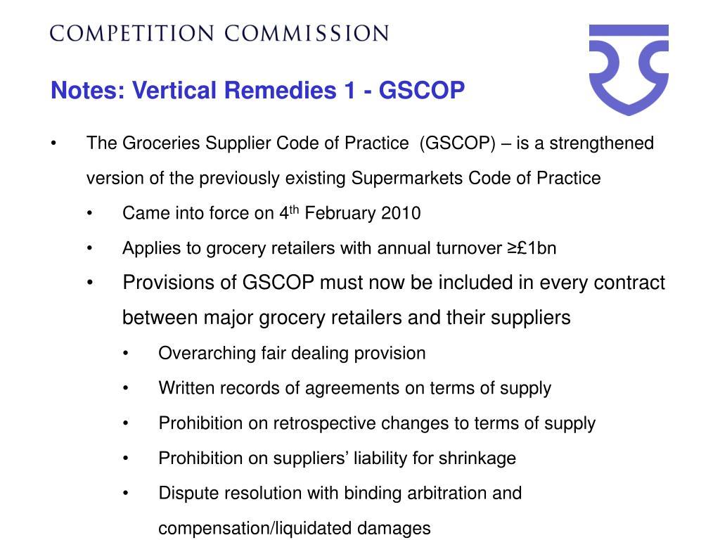 Notes: Vertical Remedies 1 - GSCOP