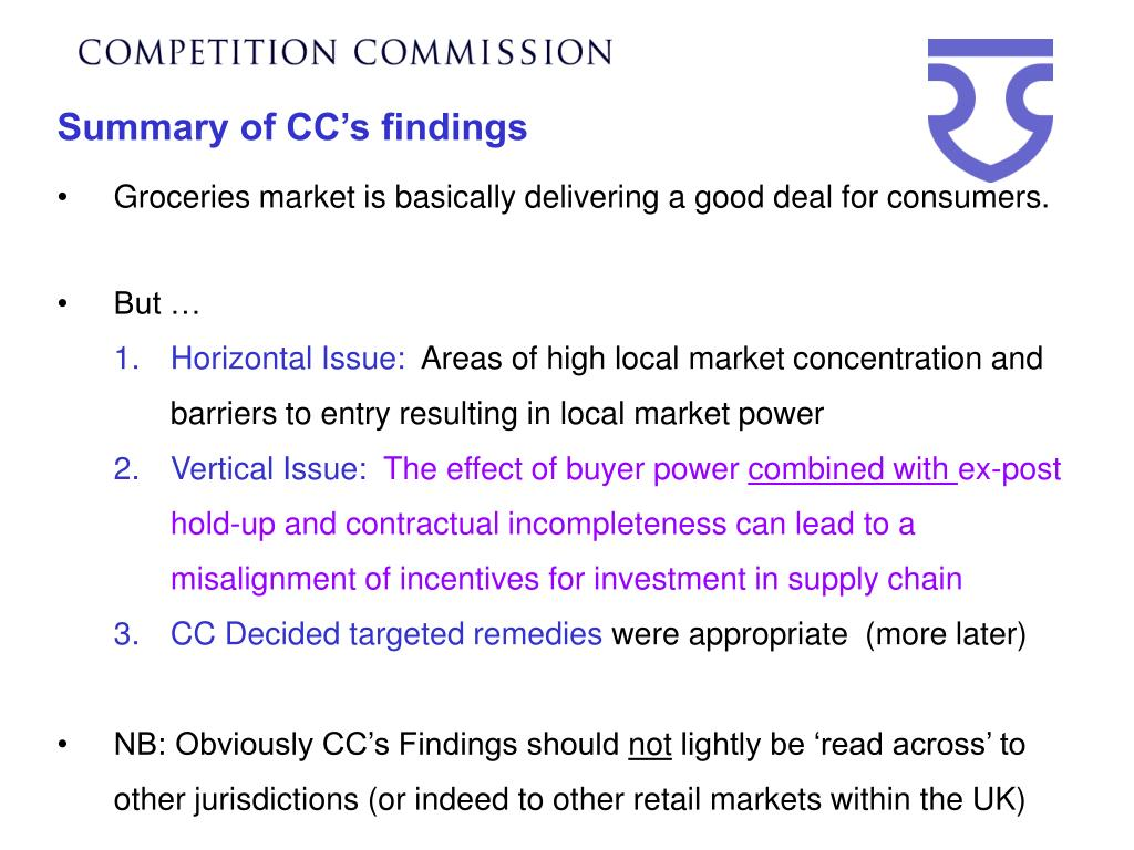 Summary of CC's findings