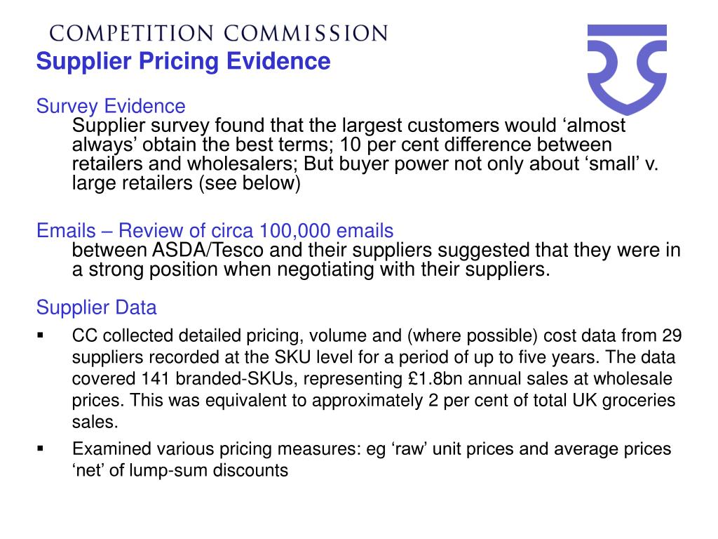 Supplier Pricing Evidence
