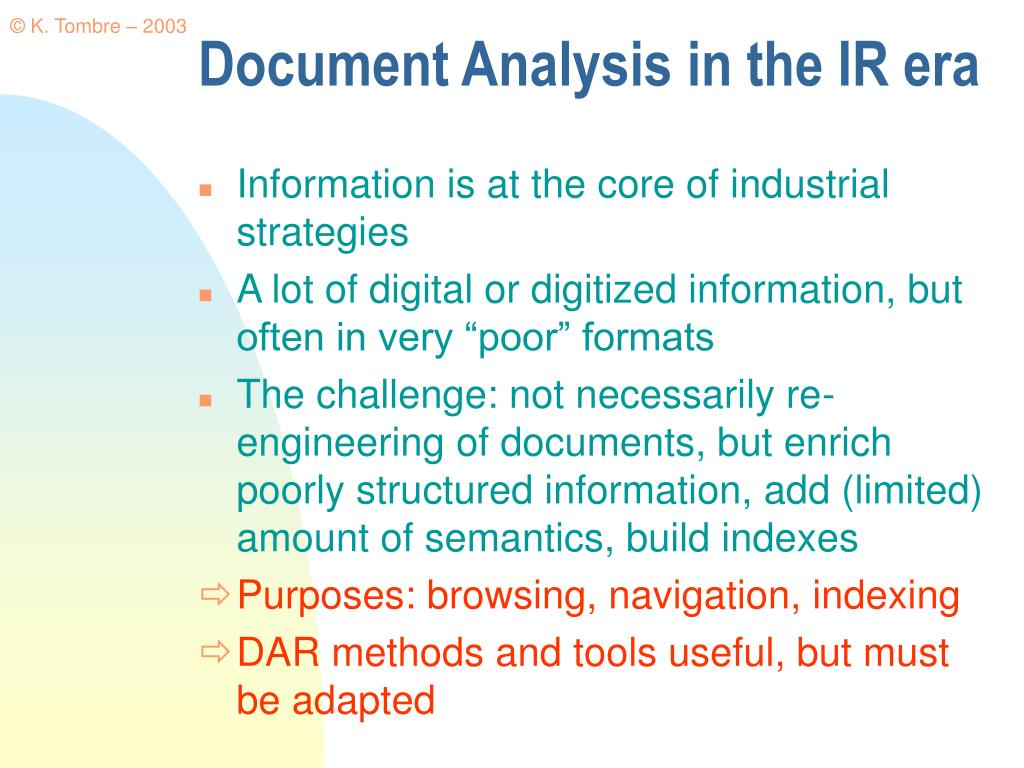 Document Analysis in the IR era