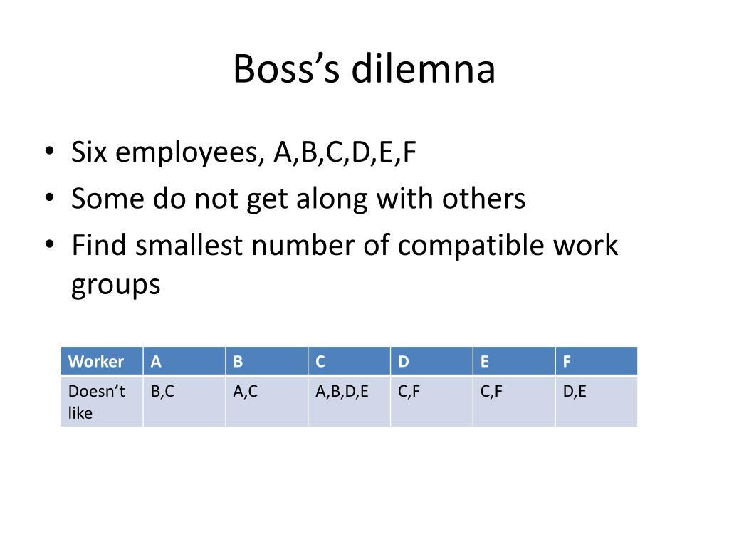 Boss's dilemna
