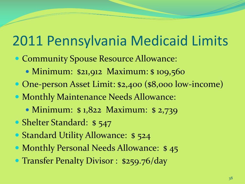 2011 Pennsylvania Medicaid Limits