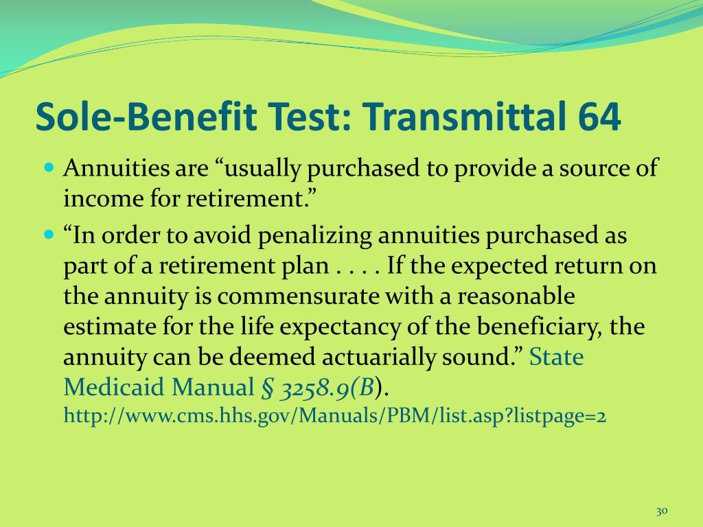 Sole-Benefit Test: Transmittal 64