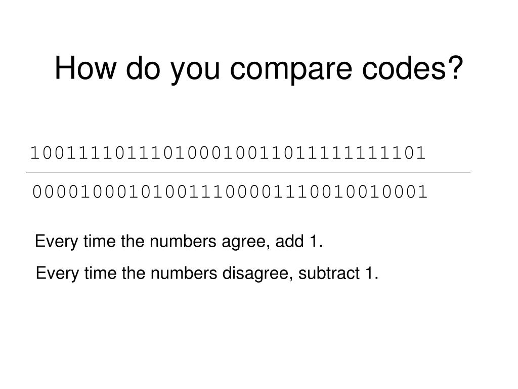 How do you compare codes?