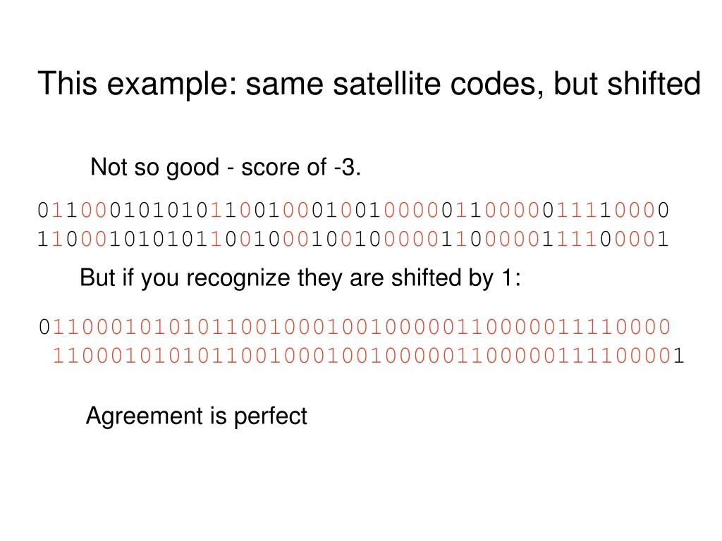 This example: same satellite codes, but shifted