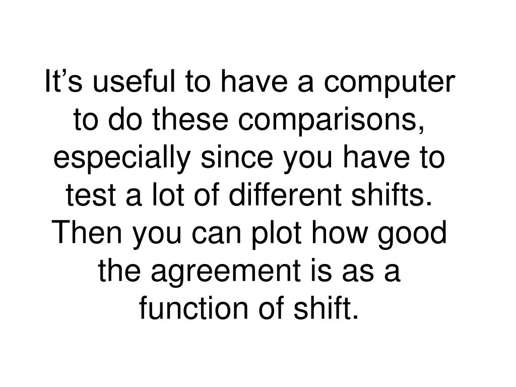 It's useful to have a computer to do these comparisons, especially since you have to test a lot of different shifts.  Then you can plot how good the agreement is as a function of shift.