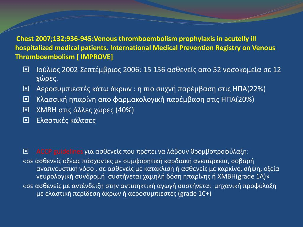 Chest 2007;132;936-945:Venous thromboembolism prophylaxis in acutelly ill hospitalized medical patients. International Medical Prevention Registry on Venous Thromboembolism [ IMPROVE]