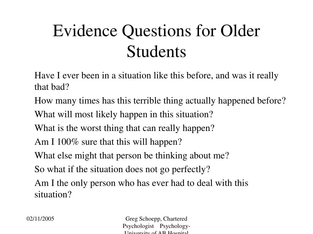 Evidence Questions for Older Students
