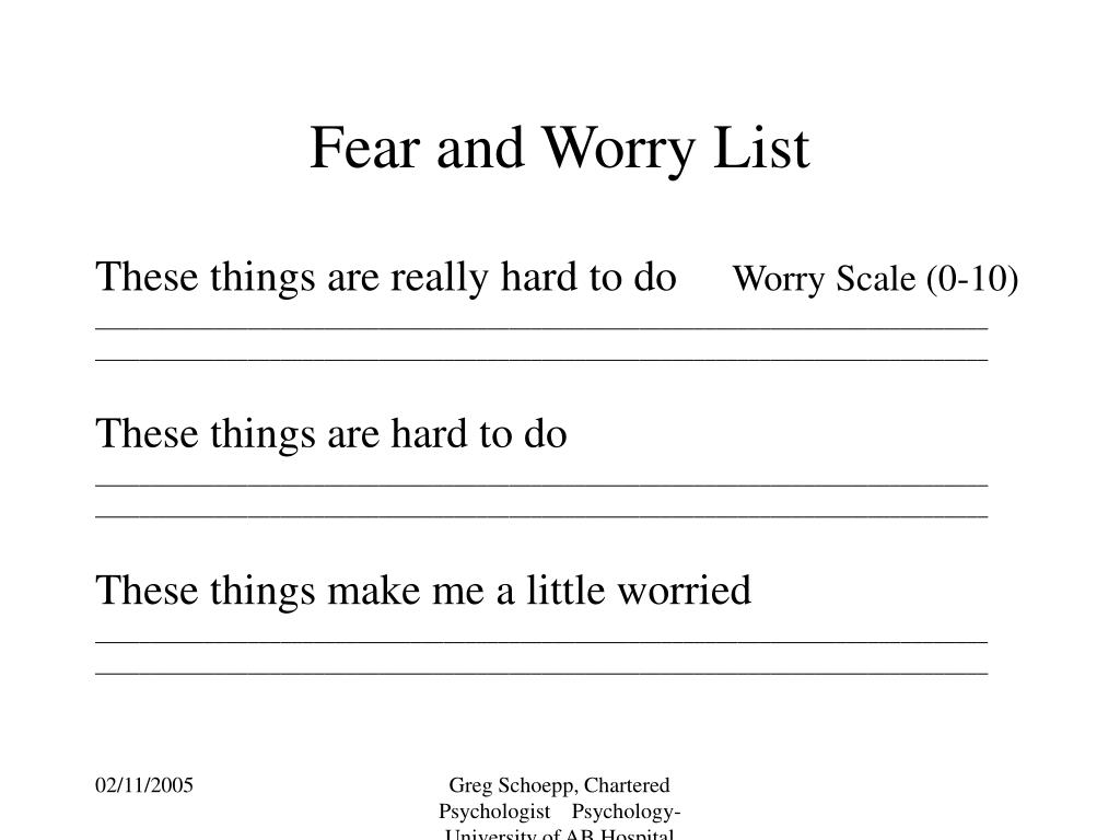 Fear and Worry List