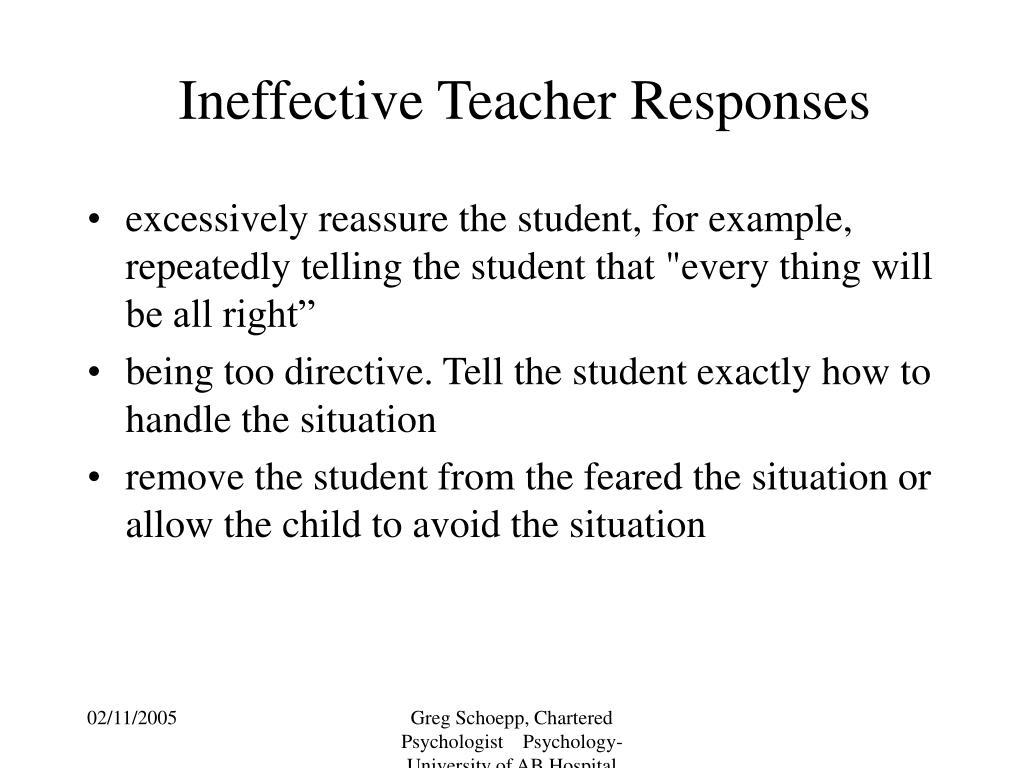 Ineffective Teacher Responses