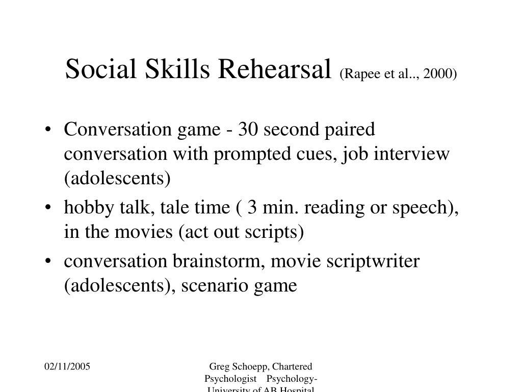 Social Skills Rehearsal