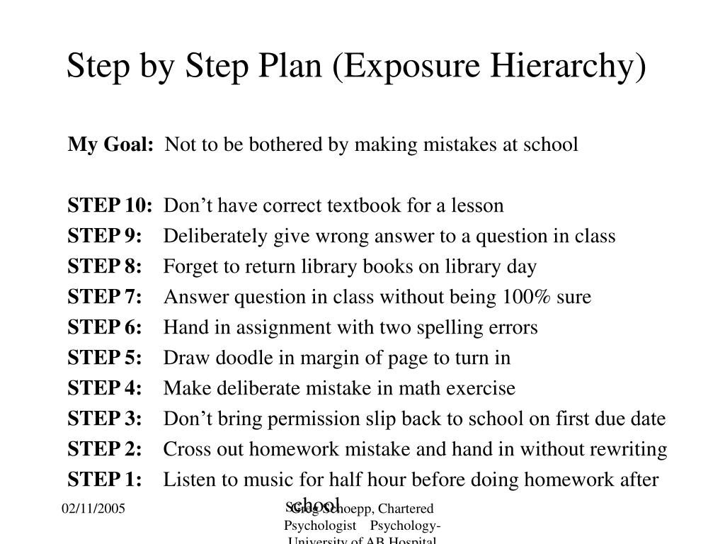 Step by Step Plan (Exposure Hierarchy)