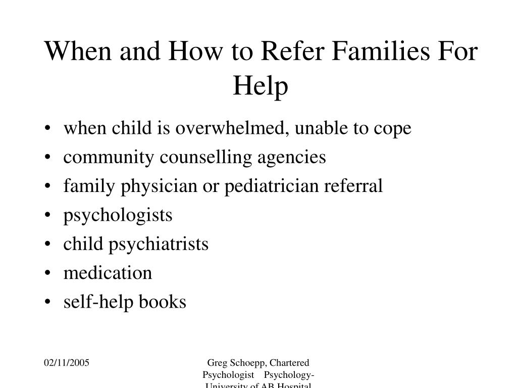 When and How to Refer Families For Help