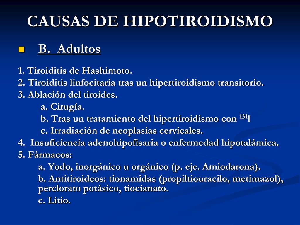 CAUSAS DE HIPOTIROIDISMO
