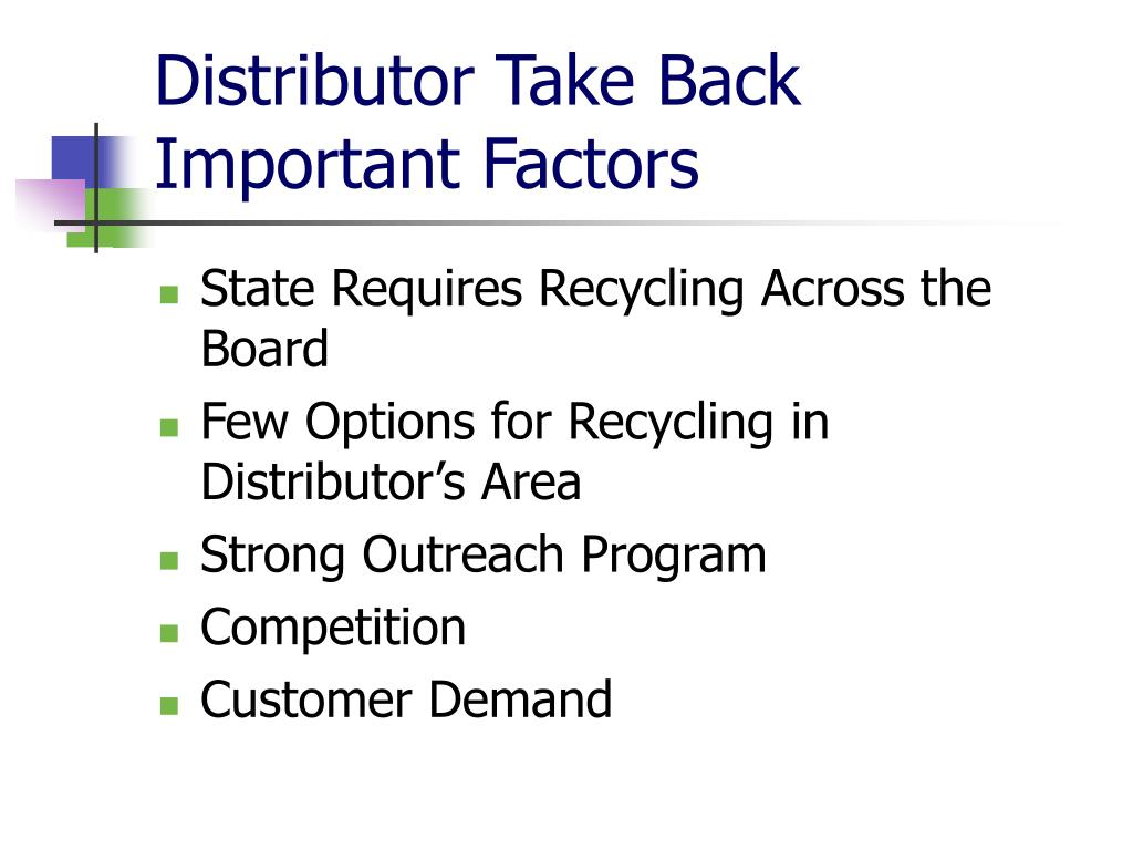 Distributor Take Back
