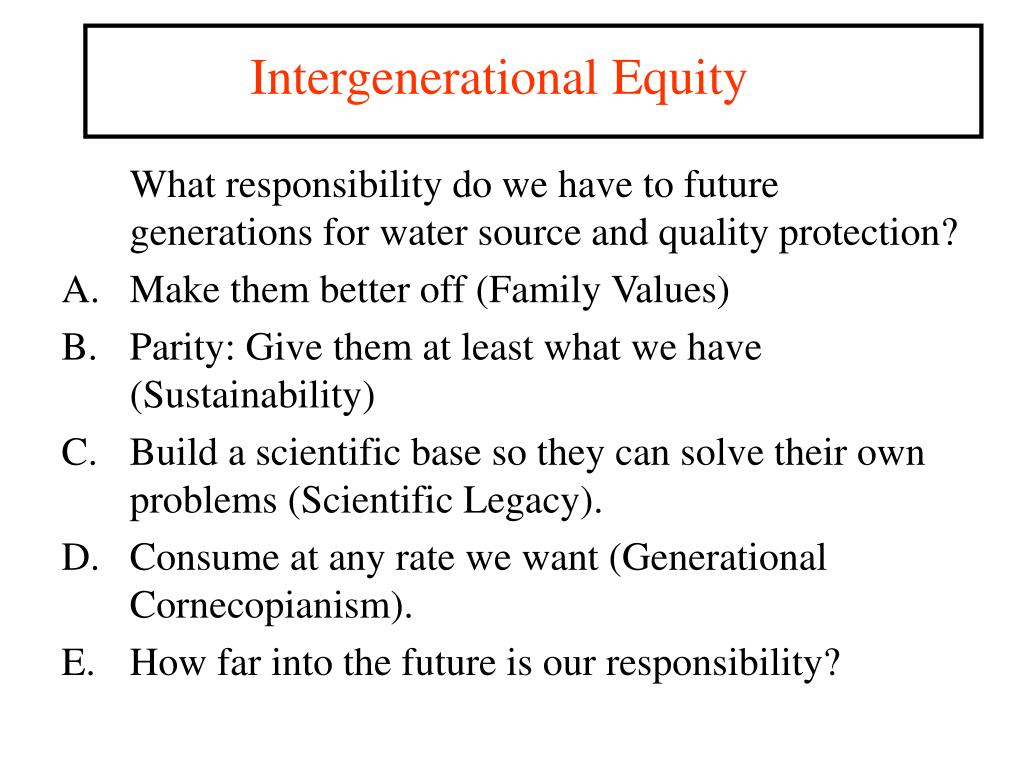Intergenerational Equity