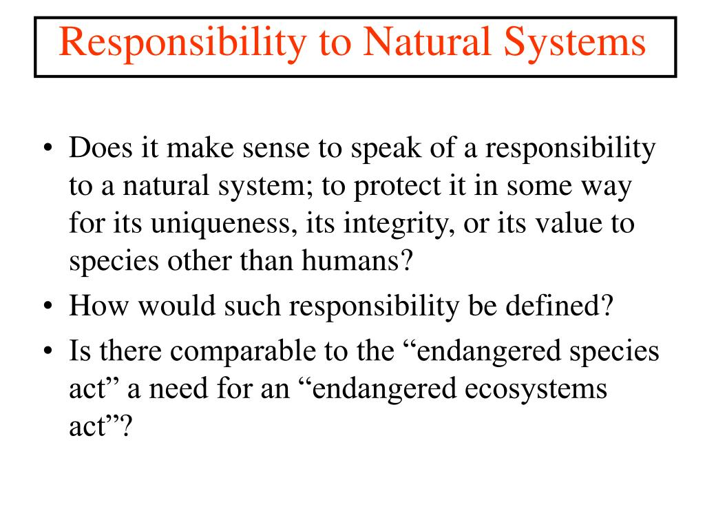 Responsibility to Natural Systems