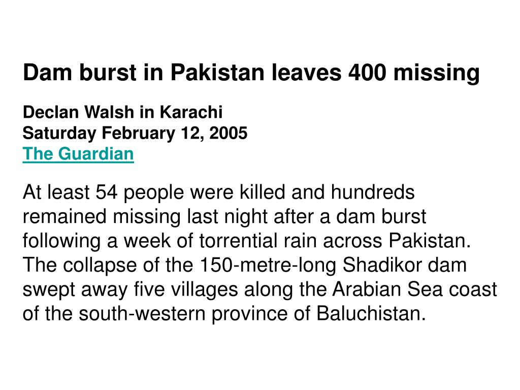 Dam burst in Pakistan leaves 400 missing