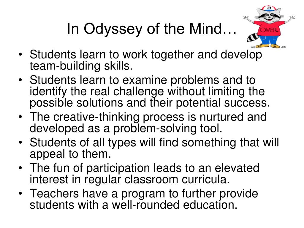 In Odyssey of the Mind…