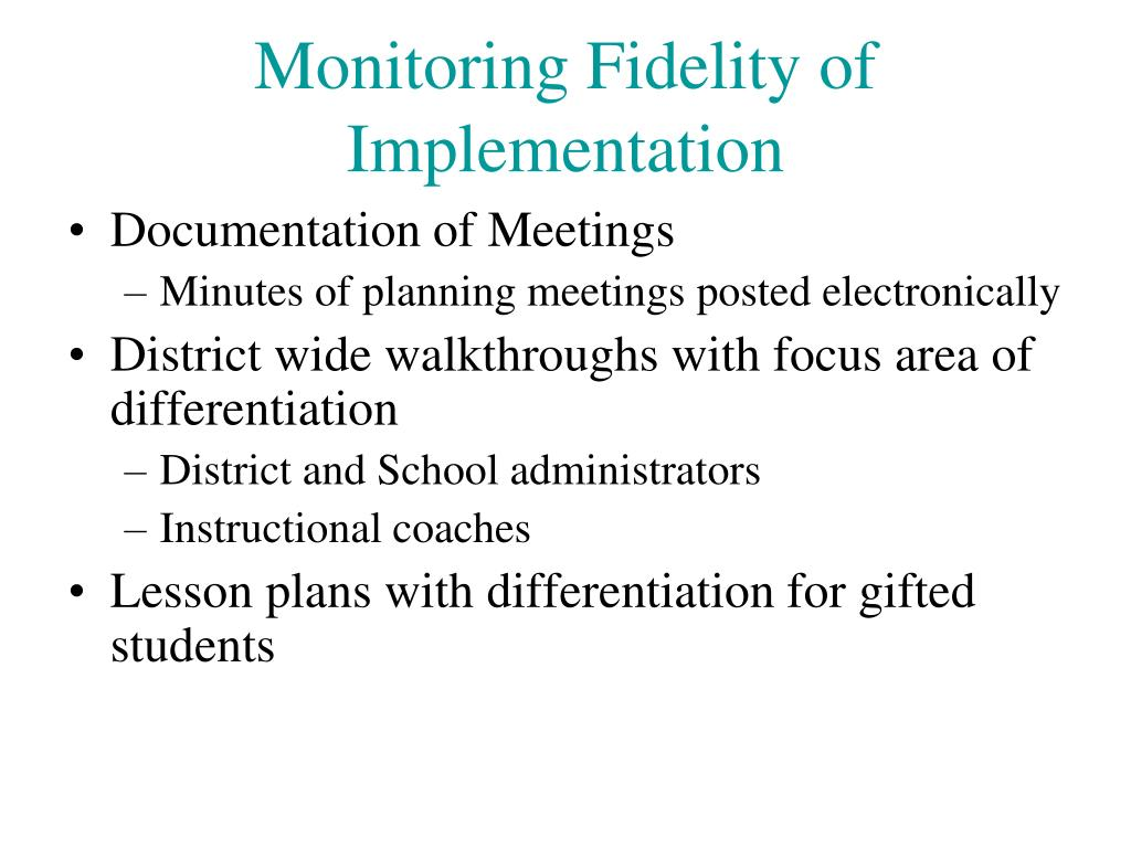 Monitoring Fidelity of Implementation