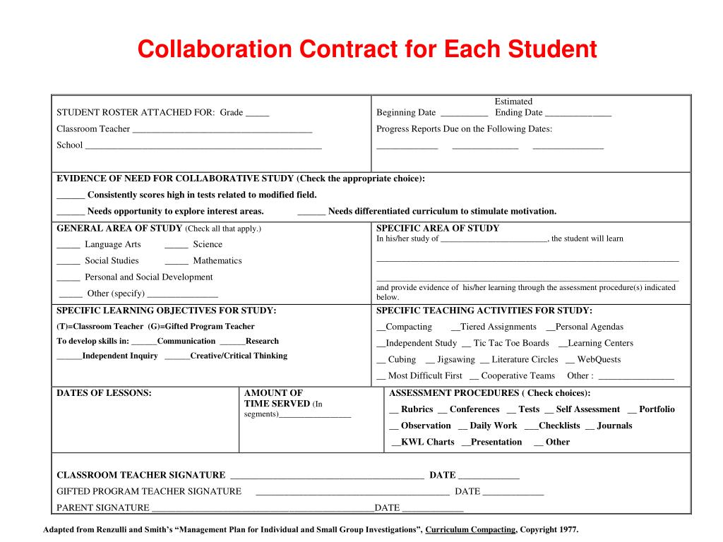 Collaboration Contract for Each Student