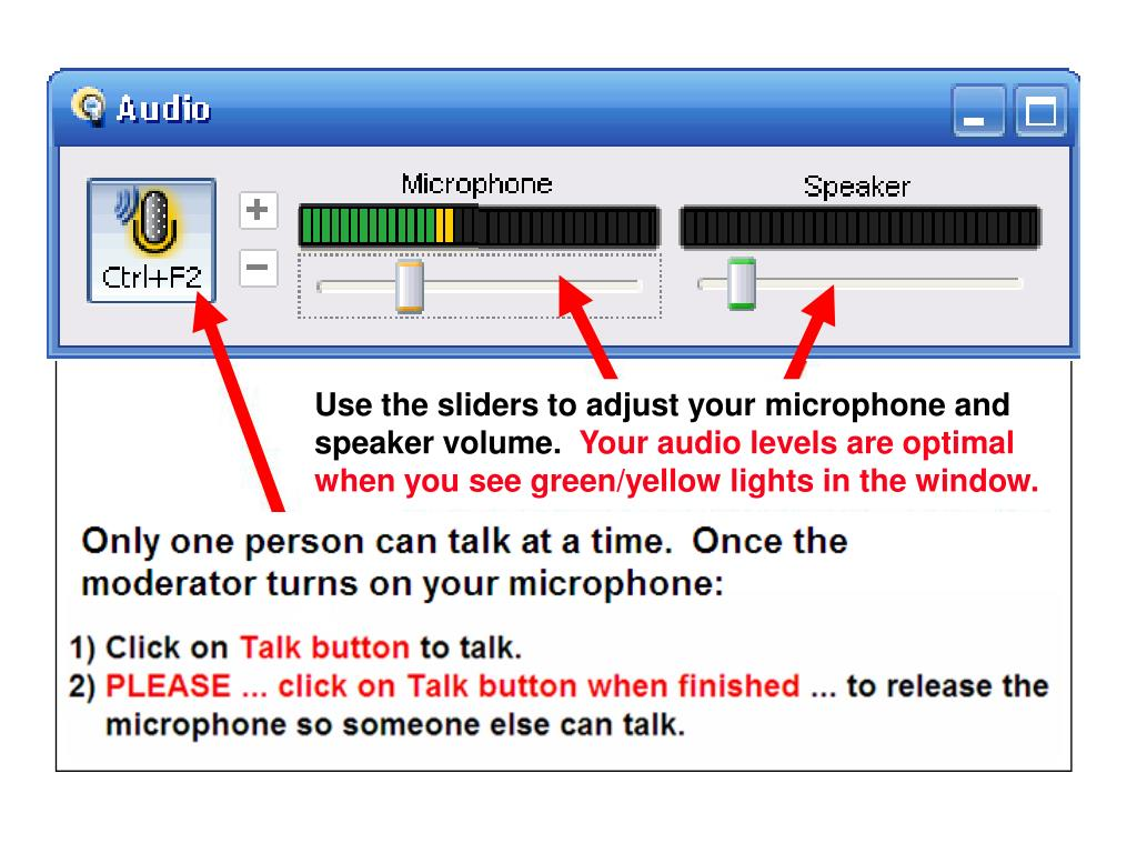 Use the sliders to adjust your microphone and speaker volume.
