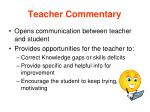 teacher commentary