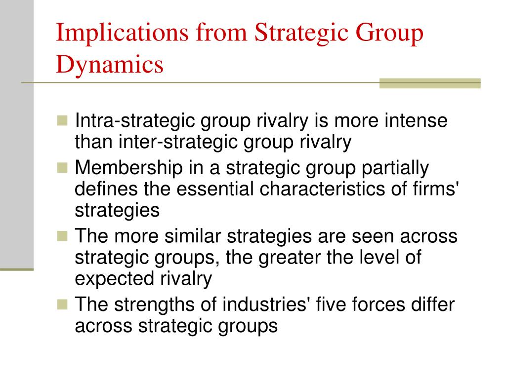 Implications from Strategic Group Dynamics